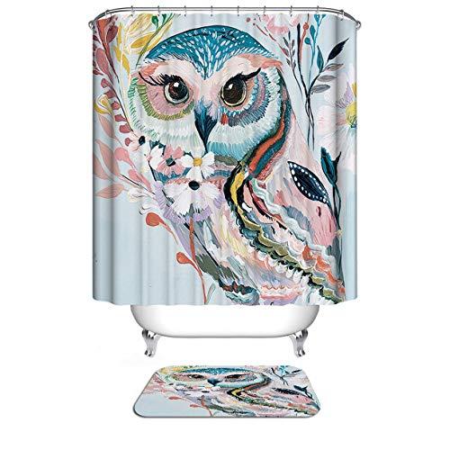 Dodou 72 X 72 Inch Animals Digital Printing Animal Shower Curtain Art Bathroom Decor Cute owl Design Polyester Waterproof Fabric Bathroom Accessories with Hooks (Accessories Bathroom Owl)