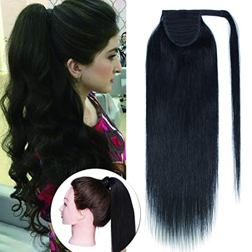 Straight Pony - Wrap Around Ponytail Hair Extensions Human Hair Long Straight 100% Real Remy Hair Pony Tails Hair Extensions For Women #1B Natual Black 20 inches 95g