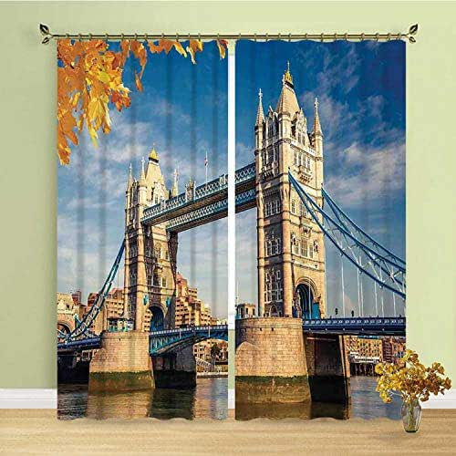YOLIYANA London Comfortablr Curtain,Historical Construction Tower Bridge with Mossy Abutments Autumnal Leaves for Hotel,236''W x 106''H