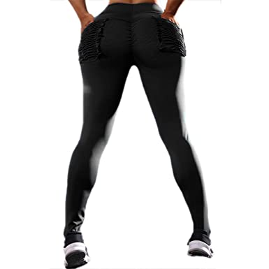 479796fc514fb Michelle A Women s Ruched Booty Leggings Big Butt Pants Workout Yoga Tights  with Pockets