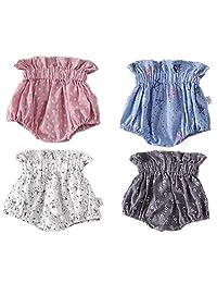 ARAUS Babg Girl Cotton Shorts High Waist Floral Ruffle Bloomer Casual Pants 4 Pcs