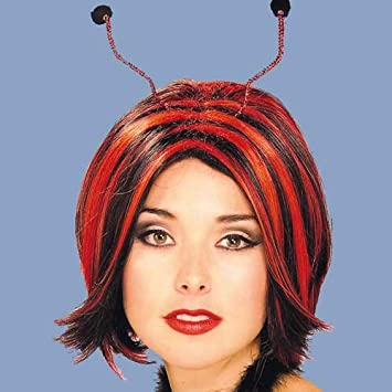 Ladies Fancy Dress Accessory Black & Red Ladybug Wig (peluca)