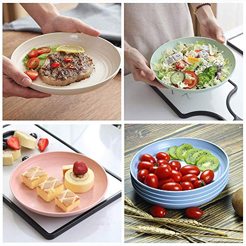 12 Pack New Wheat Straw Plates Set, Unbreakable Lightweight Dinner Dishes, Microwave Safe Dinner Plate, Perfect for Salad, Pasta, Steak,Fruit(6.8'' ,7.8'' , 8.8'')