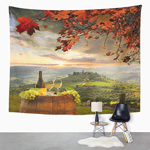 """Semtomn Tapestry Wall Hanging Red White Wine Barrel on Vineyard in Chianti Tuscany 50""""x 60"""" Home Decor Art Tapestries for Bedroom Living Room Dorm Apartment"""