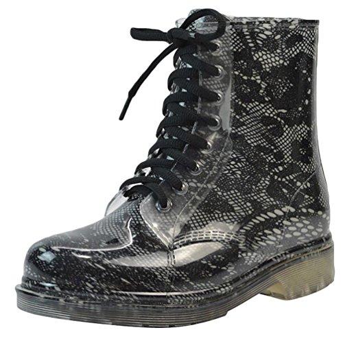 LvRao Mujer Boots Impermeable con Cordones de Zapatos Booties Corto de Lluvia Nieve Botas Casual de Jardín Negro 2