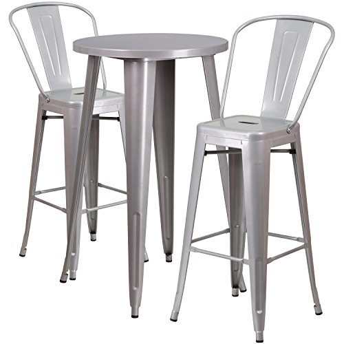 (Flash Furniture 24'' Round Silver Metal Indoor-Outdoor Bar Table Set with 2 Cafe Stools)