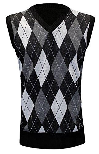 Enimay Mens Argyle V-Neck Golf Sweater Vest Black 2 (Mens Sweater Vest)