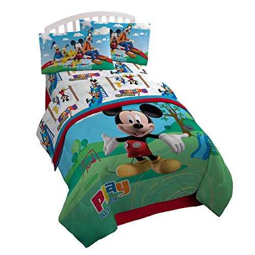 Disney Mickey Mouse Club House 'Play' 3 Piece Twin Sheet Set (Mickey Mouse Curtains)