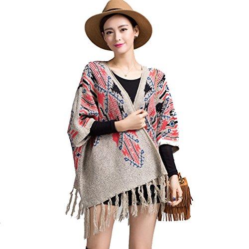 Wennikids mujeres Vintage Floral Borla Poncho capa chal Batwing Jersey de punto capa Beige