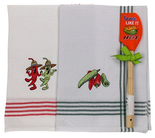Hot Chili Pepper Kitchen Bundle - 2 Pepper Embroidered Dish Towels + Some Like It Hot Spatula Dancing Chili Pepper