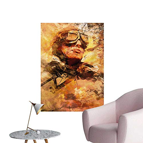 (Anzhutwelve Vintage Airplane Wallpaper Abstract Portrait Male Pilot with Fighter Plane Pastel Color Dramatic SkyMulticolor W32 xL36 Cool)