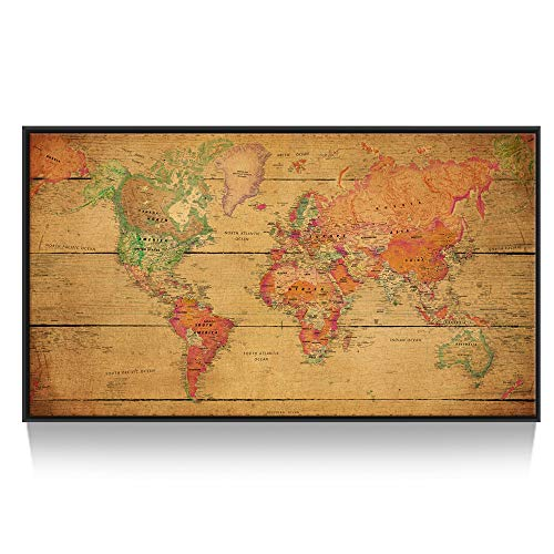 Kreative Arts Large Size World Map Wall Art Natural