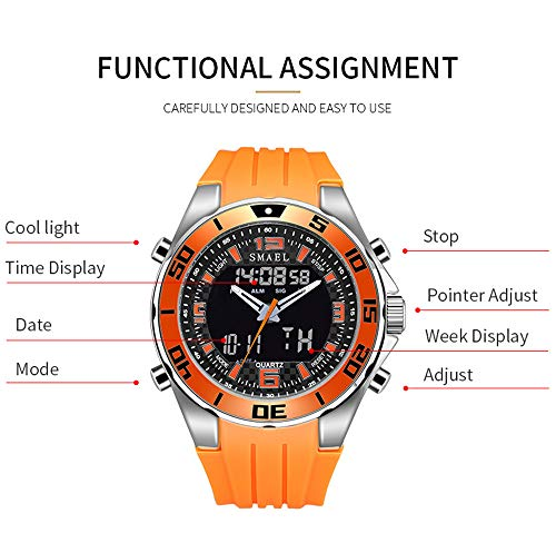 - Men Analog Digital Dual Time Display Watches Fashion Sport Mens LED Screen Large Face Military Watches (Orange)
