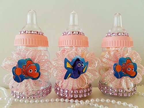 12 Nemo & Dory Pink Fillable Bottles Baby Shower Game Under The Sea Favors -