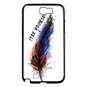 Feather Quote Fly The Unique Printing Art Custom Phone Case for Samsung Galaxy Note 2 N7100,diy cover case ygtg616017