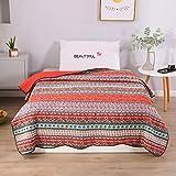 Warmcasa 100% Cotton Bedspread Bohemian Style Super Soft Warm Quilted Bedspread Living Room Bed Sheet Sofa Blanket 90' x 98'(Vintage 1, 230 * 250cm)