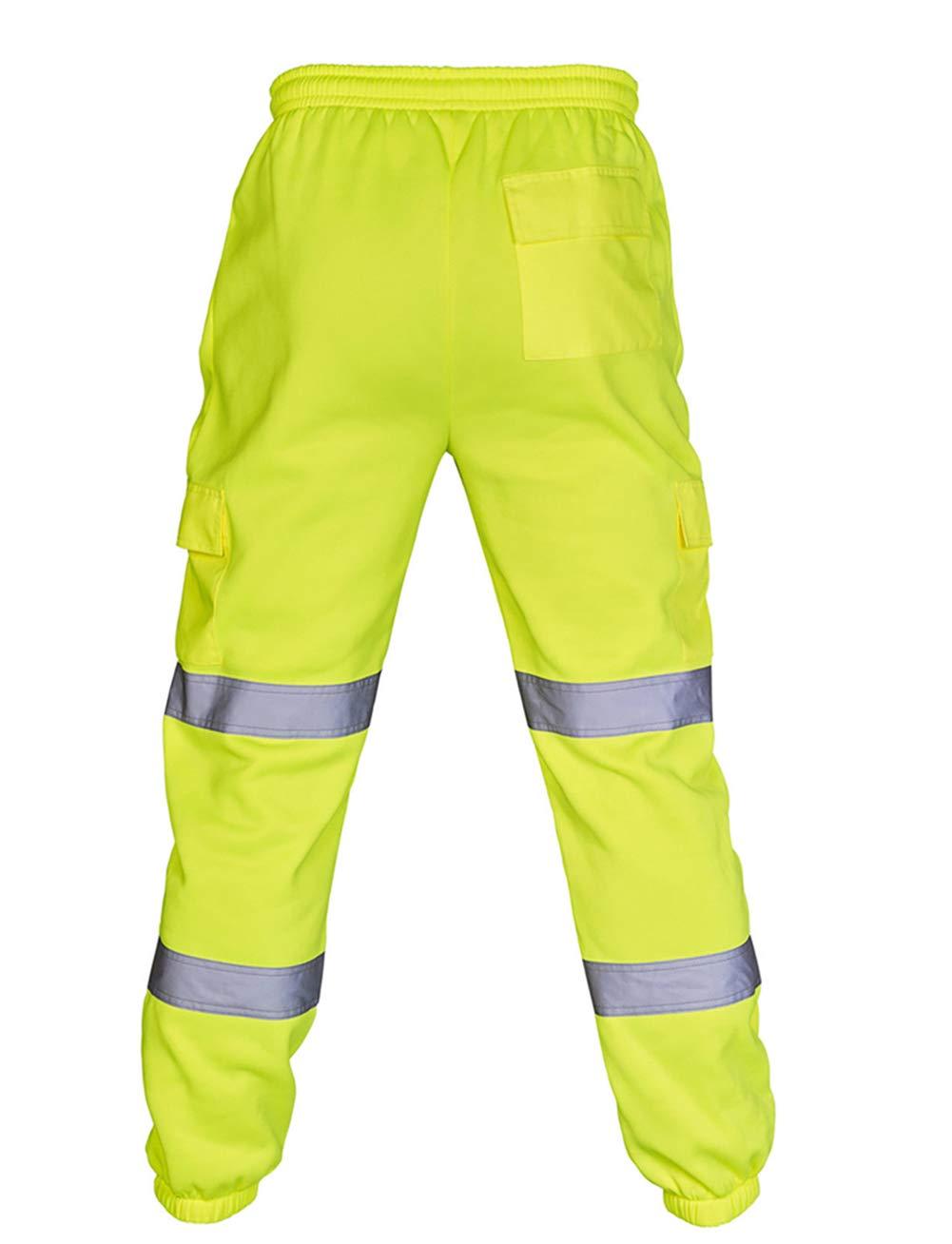 L, Yellow Mens Hi Vis Viz Reflective Overalls High Visibility Safe Work Pants Sweatpants Joggers Trousers