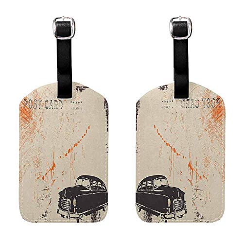 Luggage ID Tags - 2-pack Vintage Car,Art with Classic Old Fashioned Car on the Street Vintage Postcard Style Design, Beige Black Getaway Luggage Tag