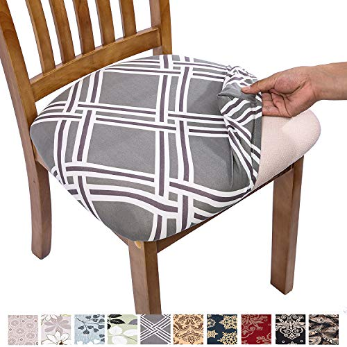 Comqualife Stretch Printed Dining Chair Seat Covers, Removable Washable Anti-Dust Upholstered Chair Seat Cover for Dining Room, Kitchen, Office (Set of 4, Grey Geometric)
