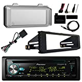 Pioneer DEH-S6000BS Bluetooth Radio USB AUX CD Player Receiver W/ Cover - Bundle With Install Dash Kit + Handle Bar Control + Enrock Antenna for 98 2013 Harley Touring Flht Flhx Flhtc Motorcycle Bike