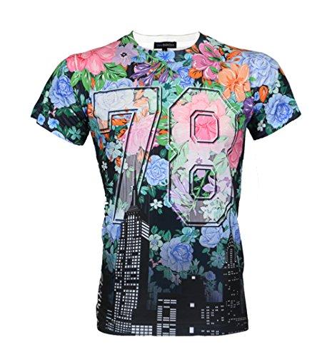"""Urban Icon Men's Sublimation T-Shirt """"Floral #"""" (Large, BLUE 78)"""