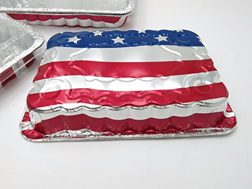 Disposable/ Reusable 13 x 9 x 2 inch American Flag Cake Pans #1776NL (100)