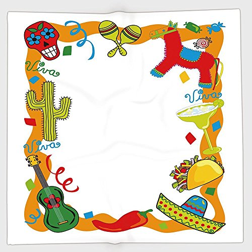 Peppers Scrunchie (iPrint Polyester Bandana Headband Scarves Headwrap,Fiesta,Cartoon Drawing Style Mexican Pinata Taco Chili Pepper Sugar Skull Pattern Guitar,Multicolor,for Women Men)