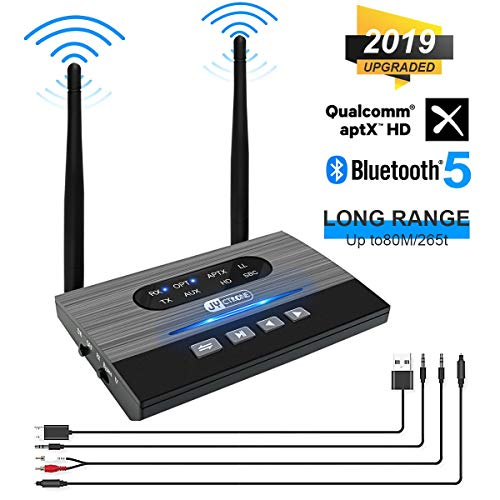 Bluetooth 5.0 Plus Transmitter Receiver, JYCTRONE 2019 Upgraded 3-in-1 Wireless aptXHD Low Latency Bluetooth Audio, 265Ft Wireless Adapter Optical RCA AUX 3.5mm for Car Stereo/TV/Home Sound System