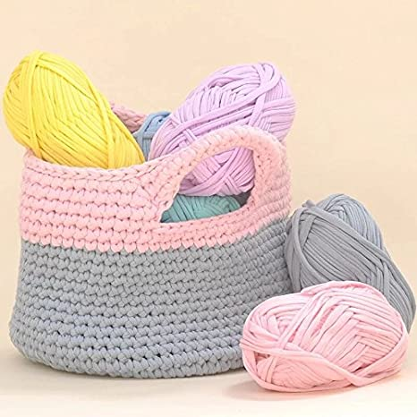 Amazon.com: DIY Crochet Cloth T Shirt Yarn for Hand Knitting Rugs Basket, 100g, 0.22Lb (Light Grey)