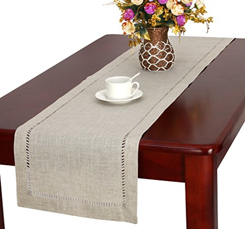 Handmade Hemstitched Natural Rectangle Lace Table Runners (14x72 inch) - Hand hemstitched natural color 50% linen, 50% polyester Machine washable - table-runners, kitchen-dining-room-table-linens, kitchen-dining-room - 519uSFYrXRL -