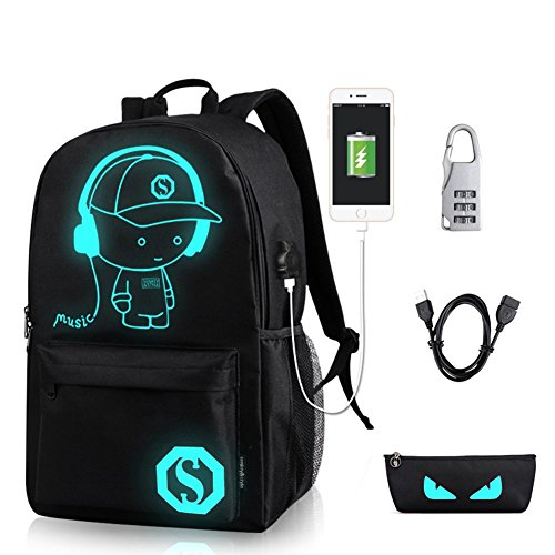 YYCB Anime Luminous Black Backpack Noctilucent School Bags Daypack USB chargeing port Laptop Bag Handbag For Girls Boys Men Women by YYCB