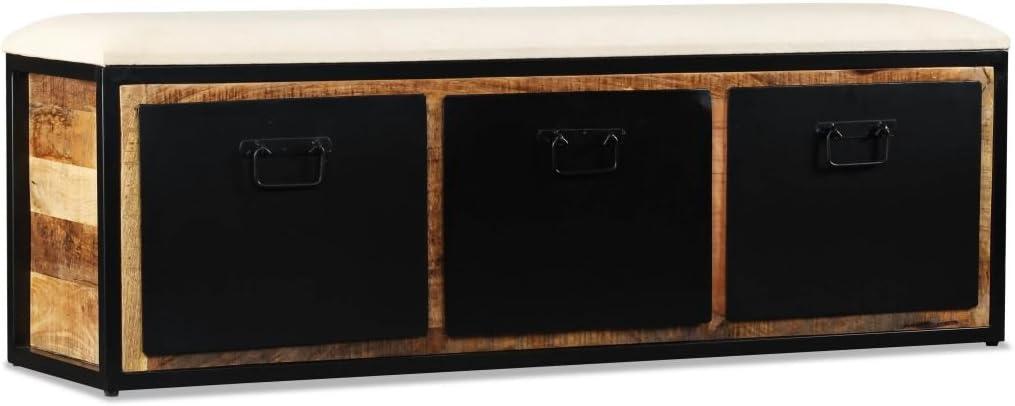 Festnight Banc De Rangement Avec 3 Tiroirs En Bois De Manguier Style Industriel 120x30x40 Cm Amazon Fr Cuisine Maison