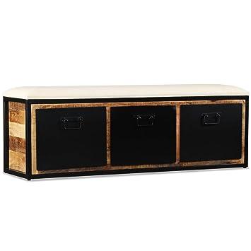 meilleure sélection ad7c4 e77ff Festnight Banc de Rangement avec 3 Tiroirs en Bois de Manguier Style  Industriel 120x30x40 cm