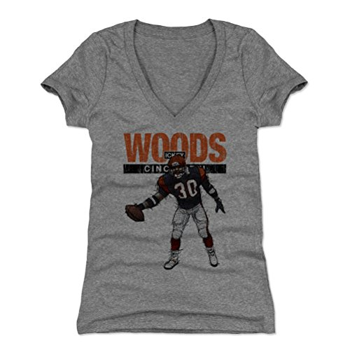 500 LEVEL Ickey Woods Women's V-Neck Shirt (Large, Tri Gray) - Cincinnati Bengals Shirt for Women - Ickey Woods Touchdown Dance Cincinnati
