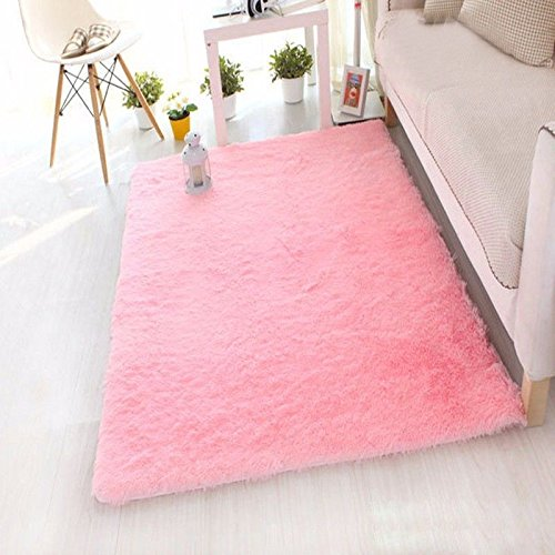 FIRSTLIKE 3-5 Days Delivery; Anti-skid Living Room Soft Carpets Floor Mat Shaggy Area Rug 60X120CM,Pink -