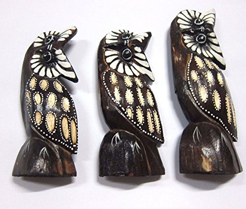 3 pcs. Wood Carved Painted Owl Toy Wood 8.2,7,6 Inch Wood Toy Craf - Model Eyeglasses 3d