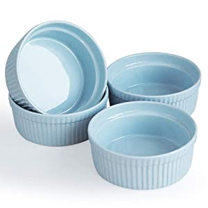 Cinf Blue Porcelain 10 oz. Ramekins Baking Cup Bowls Dishes, Set of 4,Souffle Cups Dishes, Creme Brulee, Custard Cups,Desserts,Oven,Microwave,Freezer and Dishwasher Safe …