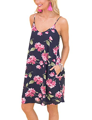 a986504c6204 Hibluco Women's Summer V-Neck Spaghetti Strap Floral Mini Dress with  Pockets (Large, Blue) at Amazon Women's Clothing store: