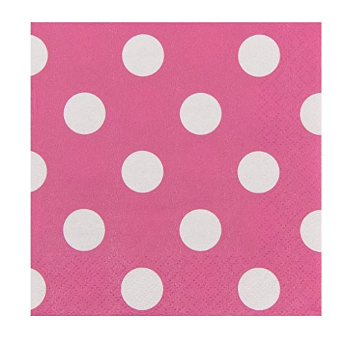 (JAM PAPER Small Polka Dot Beverage Napkins - 5 x 5 - Fuchsia Hot Pink with Polka Dots - 16/Pack)
