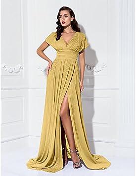 kekafu A-Line Jewel bodenlangen druhna szyfon sukienka z paskiem na szyję/Pasek zmarszczki przez LAN ting dla panny młodej, złoto: Sport & Freizeit