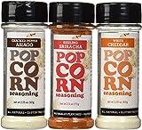 Urban Accents All Natural - Gluten Free - Non-GMO - Premium Popcorn Seasoning Variety 3 Pack - Cracked Pepper Asiago, Sizzling Sriracha, White Cheddar