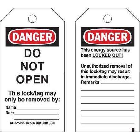 BRADY 65448 Danger Tag 5-3/4 x 3 In Cardstock PK25 WLM