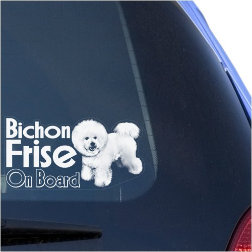 - Bichon Frise Clear Vinyl Decal Sticker for Window, Dog On Board Sign Art Print