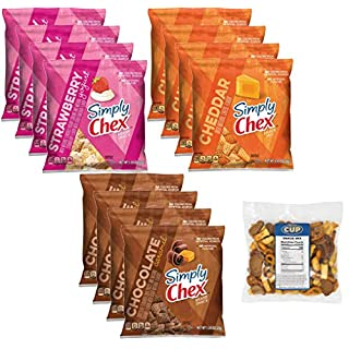 Chex Mix Brand Snack Pack 12 Count 3 Flavor Variety - 4 of Each Flavor, Strawberry Yogurt, Cheddar, Chocolate Caramel with By The Cup Snack Mix