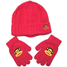 Paul Frank Julius Monkey Cable and Dot Knitted Beanie Gloves Set for Girls