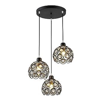 Charmant TopDeng Crystal Boules Suspension Luminaire Pour Cuisine, E27 Pendentif  Lampe Créatif Lustre Avec Fer Chromage