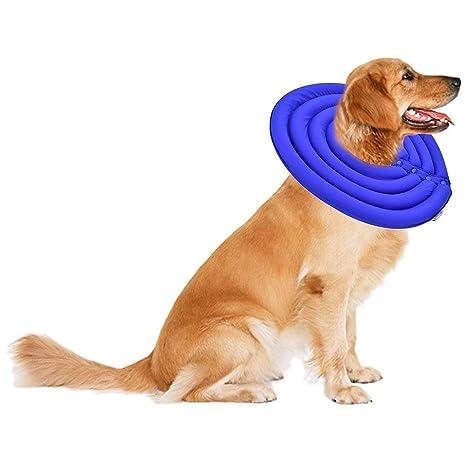V.JUST Cuello del Animal doméstico Cono E-Collar Proteger Suave Inflable mordida Rayada Cuello de Lactancia para Perro Gato Cachorro Recuperación Curación ...