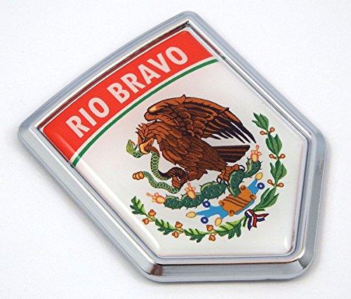MX1 Rio Bravo Mexico Flag Mexican Car Emblem Chrome bike Decal 3D Sticker