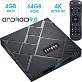 Android 9.0 TV Box 4GB RAM 64GB ROM, Pendoo X10 MAX Android TV Box RK3318 Quad-Core 64Bits Dual WiFi 2.4G/5G Bluetooth 3D 4K Ultra HD H.265 USB 3.0 Android Box