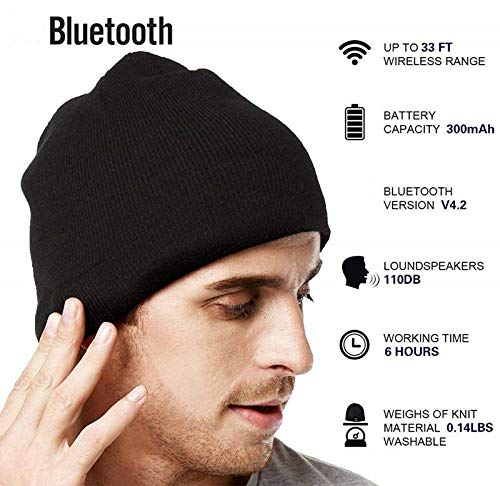 Bluetooth berretto invernale unisex berretto di maglia lavabile musicale  con microfono e altoparlanti stereo cuffie vivavoce wireless Outdoor Sports  Cap Fit ... 28fa88a14b1c